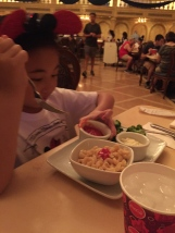 Chloe thought her whole grain macaroni kids meal was ok.