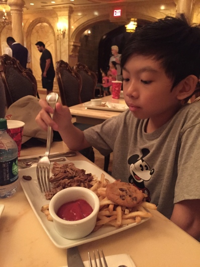 Caleb enjoyed his slow cooked pork kids meal.